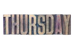 Thursday word isol. Thursday word made from wooden letterpress type isolated on white Royalty Free Stock Image