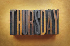Thursday. The word THURSDAY written in vintage letterpress type Royalty Free Stock Photo