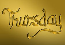 Thursday written in gold. Gold lettering written Thursday for headers and backgrounds or any needed text Royalty Free Stock Photography