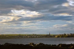 Thurso Early Morning. An early morning view over Thurso Bay in the far north of Scotland taken from Scrabster Stock Photos