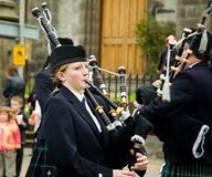 Thurso, Scotland -  August 13 2005. Scottish traditional bagpipe Royalty Free Stock Photography