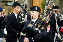 Thurso, Scotland -  August 13 2005. Scottish traditional bagpipe Royalty Free Stock Images