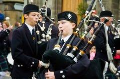 Thurso, Scozia - 13 agosto 2005 Cornamusa tradizionale scozzese Immagini Stock Libere da Diritti