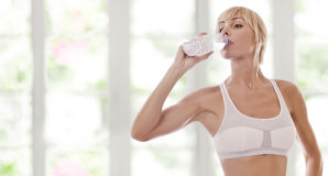 Thursty. Portrait of nice young woman drinking water color back stock photography
