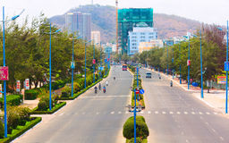 Thuy Van Avenue. One of the longest avenues in Vietnam. Vung Tau city, Vietnam. Royalty Free Stock Photos