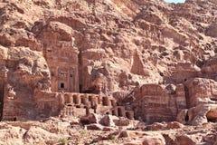 Thw Koninklijke Graven bij Petra Royalty-vrije Stock Foto's