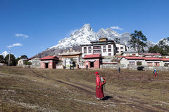 Thyangboche Monastry. Trekking from Deboche to Khumjung Nepal Sagamatha National Park Royalty Free Stock Images