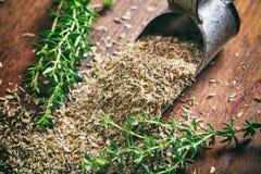 Thym frais et sec sur une table en bois Images stock
