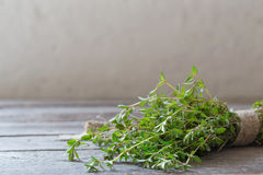 Thyme bunch on  wooden table Royalty Free Stock Images
