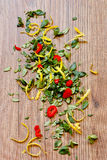 Thyme, chili and lemon peel. Stock Images