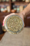 Thyme. Dried thyme in jar held by woman hand royalty free stock images