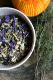 Thyme and lavender with orange, natural plants Royalty Free Stock Photography