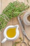 Thyme oil Stock Photo