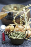 Thyme and onion for medicine tea Royalty Free Stock Image