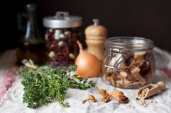 Thyme and Other Mushroom Soup Ingredients Stock Images