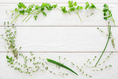 Thyme, parsley, chives frame white wood flat lay Royalty Free Stock Image
