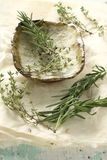 Thyme and rosemary. Leaves of rosemary and thyme, have spice and herb aroma, ingredients for cooking Stock Photos