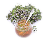 Thyme tea with fresh bunches thyme Royalty Free Stock Photo