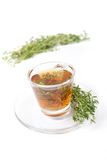 Thyme tea on white background Stock Images
