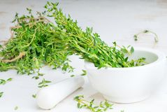 Thyme twigs in the pounder on white wooden table Royalty Free Stock Photos