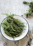 Thyme on white  stone background Stock Images
