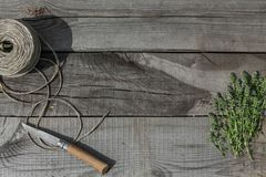 Thyme on wood Stock Image