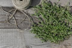 Thyme on wood Royalty Free Stock Image