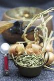 Thymian und Zwiebel für Medizintee lizenzfreies stockbild