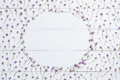 Thymiane gestalten auf weißer hölzerner Ebenenlage Kräuter gesetzt in Form von Franc lizenzfreies stockfoto