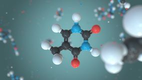 Thymine, a part of DNA, plastic molecule model. Organic chemistry or modern medicine related loopable 3D animation