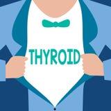 Thyroïde des textes d'écriture de Word Le concept d'affaires pour la glande dans le cou sécrète des hormones réglant la croissanc illustration de vecteur