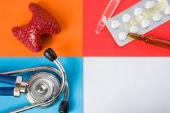 Thyroïde médicale ou de soins de santé de construction de concept de photo-organe, stéthoscope d'outil et pilules médicales diagn photo stock