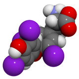 Thyroxine hormoonmolecule, chemische structuur. Royalty-vrije Stock Foto