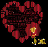 Ti amo золота сердца в языках Стоковые Изображения
