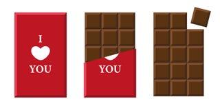 Ti amo barra di cioccolato nell'imballaggio rosso royalty illustrazione gratis