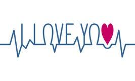 Ti amo battito cardiaco Immagini Stock Libere da Diritti