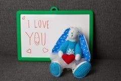 Ti amo Bunny Soft Toy Immagini Stock