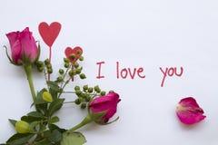 Ti amo carta del messaggio con il cuore rosso di tiraggio immagine stock libera da diritti