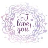 Ti amo! Carta di San Valentino Immagini Stock Libere da Diritti