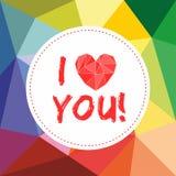 Ti amo carta di vettore dei biglietti di S. Valentino con cuore Fotografia Stock Libera da Diritti