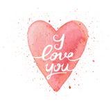 Ti amo Cartolina fatta a mano dell'acquerello con cuore Immagine Stock