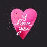 Ti amo Cartolina fatta a mano dell'acquerello con cuore Fotografia Stock