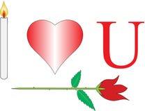 Ti amo con rosa e la candela Immagine Stock