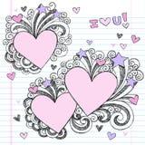 Ti amo Doodles imprecisi disegnati a mano Fotografie Stock