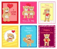 Ti amo e me Teddy Bears Vector Immagine Stock Libera da Diritti