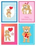 Ti amo e me Teddy Bears Vector Immagine Stock