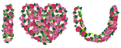 Ti amo fatto da cuore e dal fiore Immagine Stock