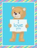 Ti amo foglio di carta del testo in Teddy Bears Paws Fotografia Stock Libera da Diritti