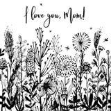 Ti amo, fondo in bianco e nero della mamma, distintivo di celebrazione, etichetta Testo, invito della carta, modello Illustrazion Fotografia Stock Libera da Diritti