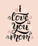 Ti amo fondo di rosa della cartolina d'auguri della mamma Fotografie Stock Libere da Diritti